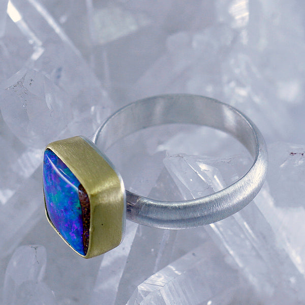 Boulder Opal Ring in 22k Gold Brushed Sterling Silver Band