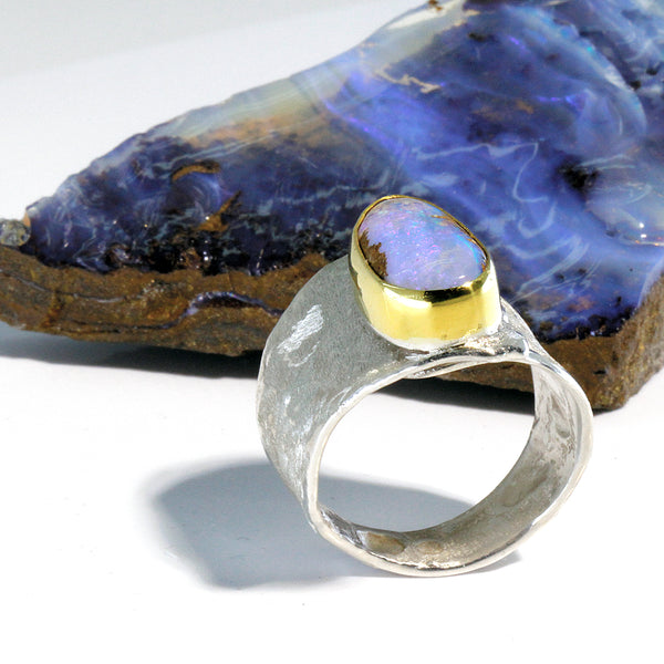 Boulder Opal Ring in Gold and Silver