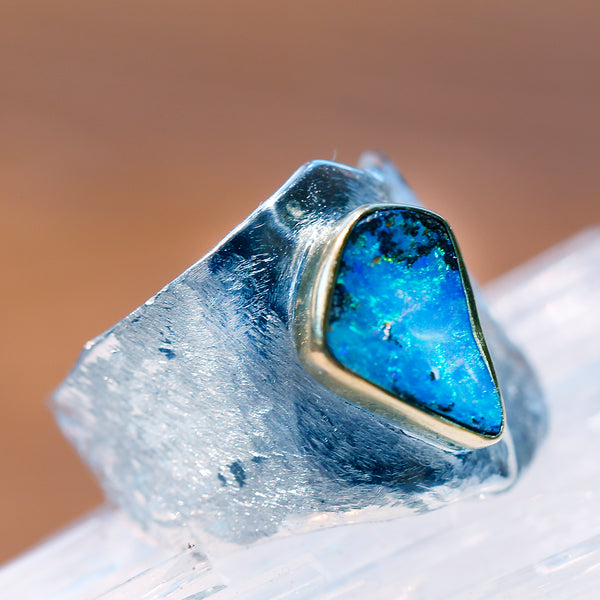 Boulder Opal Ring Sterling Silver Wide 22k Gold
