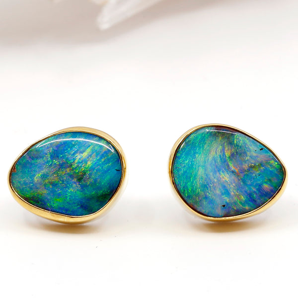 Boulder Opal Stud Earrings 22k Gold
