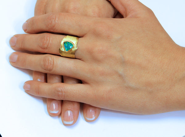 Boulder Opal Ring in 22k and 18k Gold