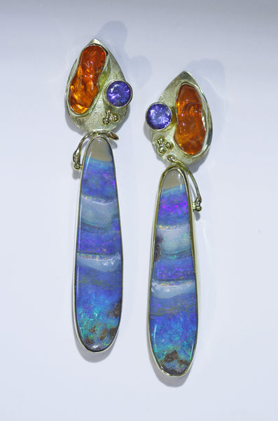 "Boulder Opal Earrings ""Sunset at Guana Cay"""