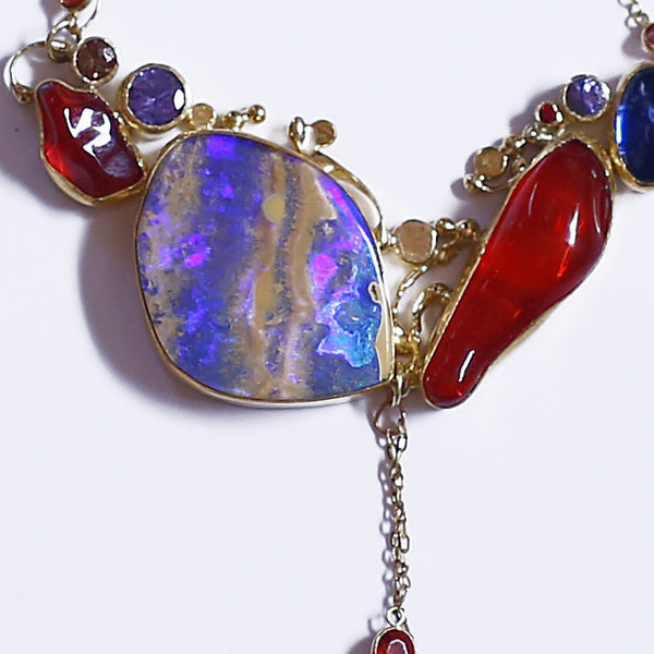 boulder opal red mexican opal tanzanite kyanite 22k gold necklace kalled