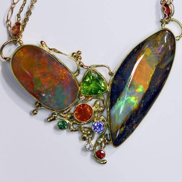 Pipe opal boulder opal orange sapphire tanzanite peridot 22k gold necklace kalled