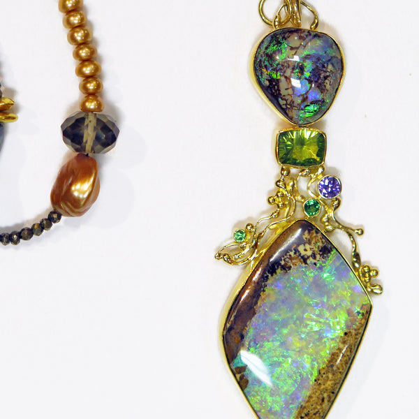 "Boulder Opal Pendant ""Bird in the Hand is Worth two in the Bush"""