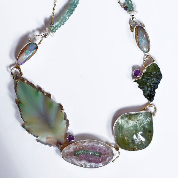 madagascar-jasper-carved-opal-necklace-moldavite-amethyst-drusy-grape-garnet-mint-kyanite-kalled