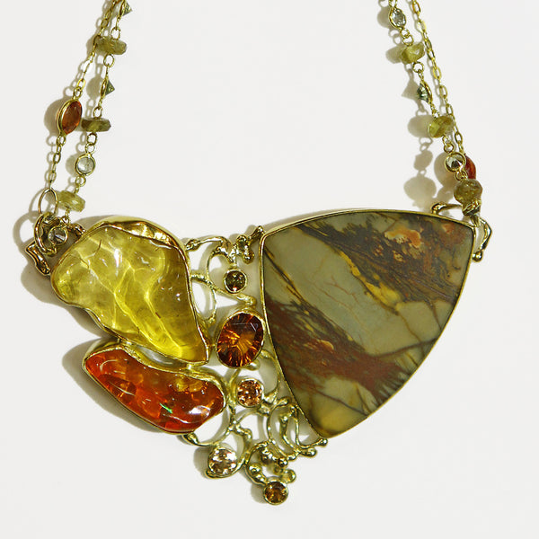 cherry jasper orange and yellow mexican opal hessonite garnet necklace 22k gold kalled