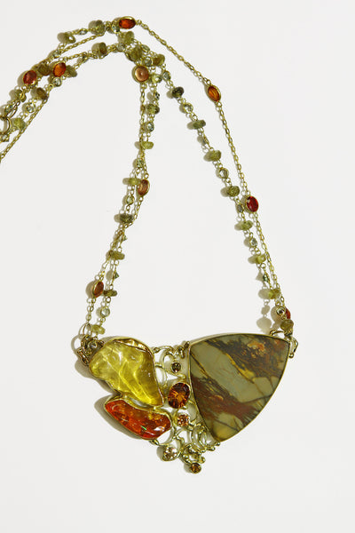 cherry-jasper-orange-yellow-mexican-opal-hessonite garnet necklace 22k gold kalled