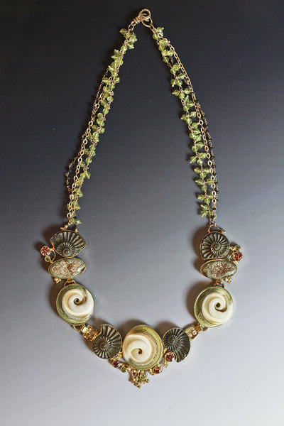 ammonite drusy sunset topaz peridot necklace 22k gold kalled