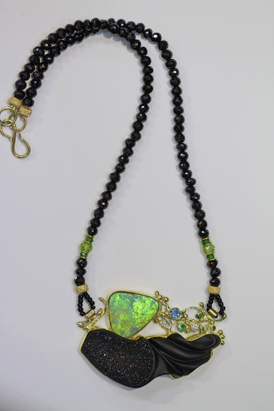 green boulder opal black carved jade tsavorite topaz diamond 22k gold kalled