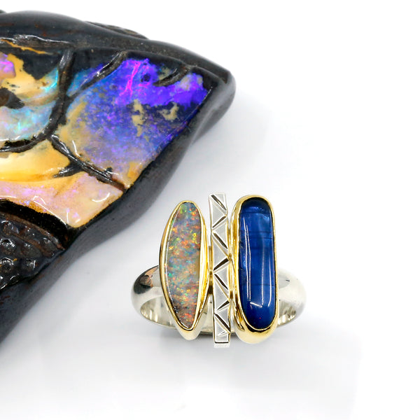 kyanite-boulder-opal-ring-22k-gold-silver-band-kalled-kasso