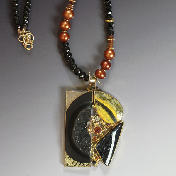 orpiment black carved onyx drusy orange sapphire diamond 22k gold pendant kalled