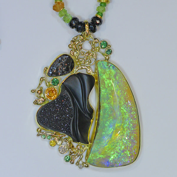 green boulder opal black carved jade black tourmaline diamond spessartite garnet 22k gold kalled