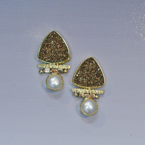 Moonbeam Drusy Earrings with Pearl
