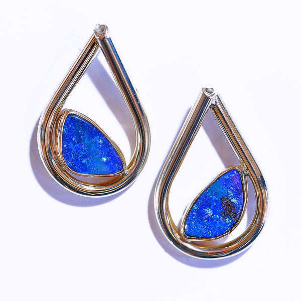 Boulder Opal Teardrop Earring in Gold