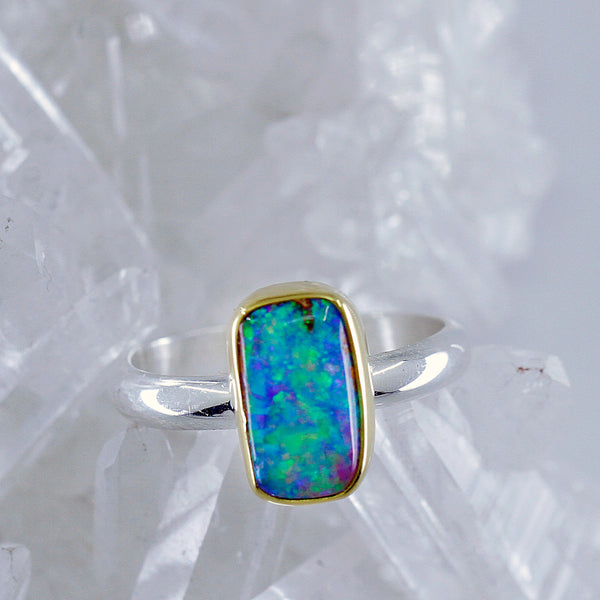 Boulder Opal Ring 22k Gold Sterling Silver Band