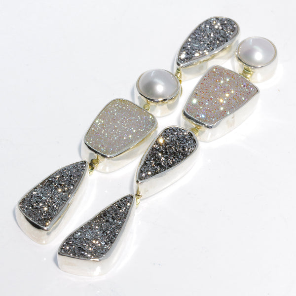 Drusy and Pearl Mismatch Silver Earrings