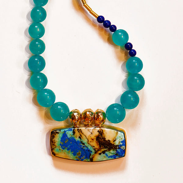 Peruvian Opal Necklace on Amazonite Lapis Gold Beads