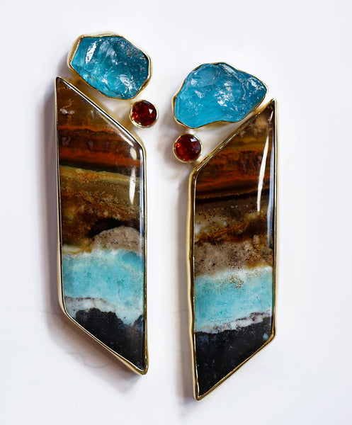 petrified-wood-apatite-earring-sapphire-gold-kalled