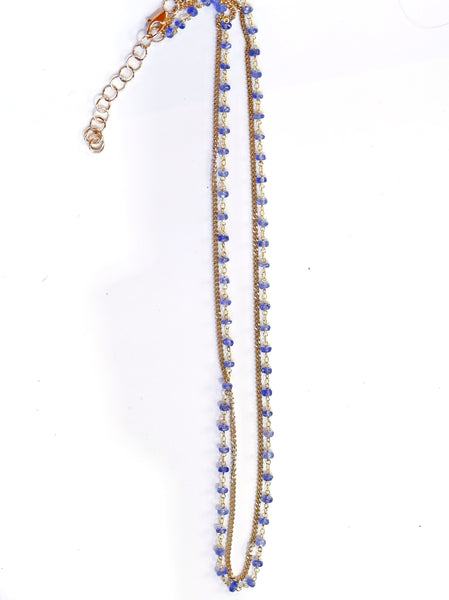 Blue Sapphire 18k Gold Chain 14k Gold Diamond Cut Chain