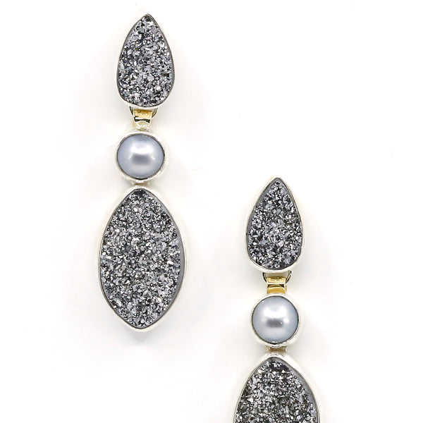 Drusy Quartz Earring Gray Pearl Sterling Silver 18k Gold