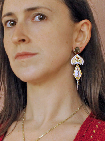 Silver-gold-drusy-Zircon-Garnet-layered-earrings