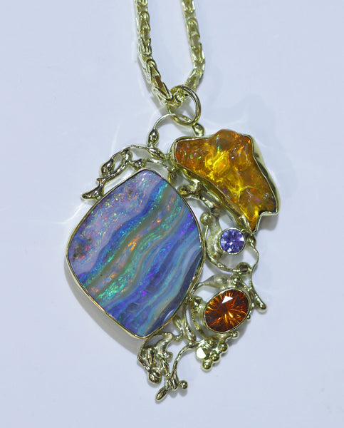 """Sunset on Guana"" Boulder Opal Pendant"