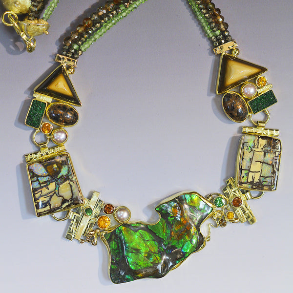 green ammonite boulder opal fire brick uvarovite spessartite ochoco rim jasper 22k gold necklace kalled