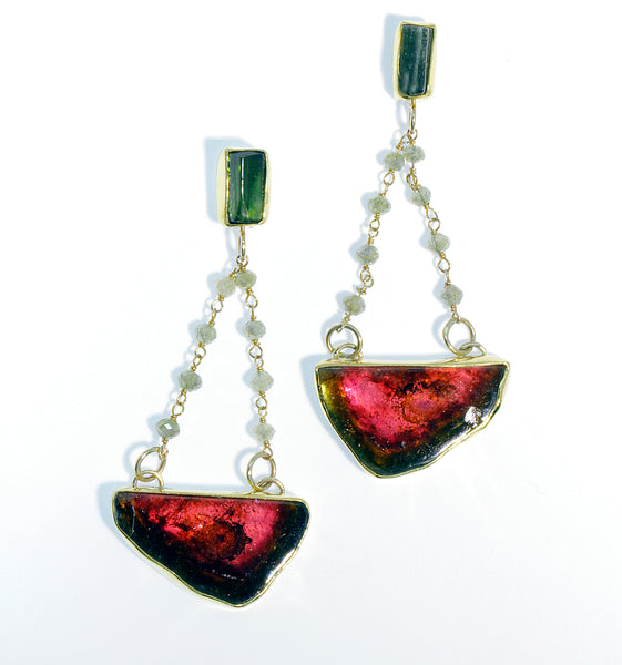 Watermelon Tourmaline Dangle Diamond Chain Gold Earring