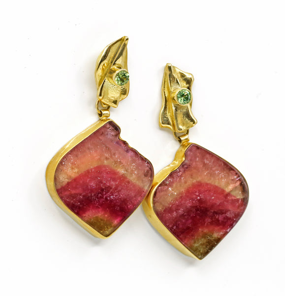 Jennifer Kalled Watermelon Tourmaline Earrings