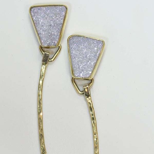 White silicon drusy drop earrings