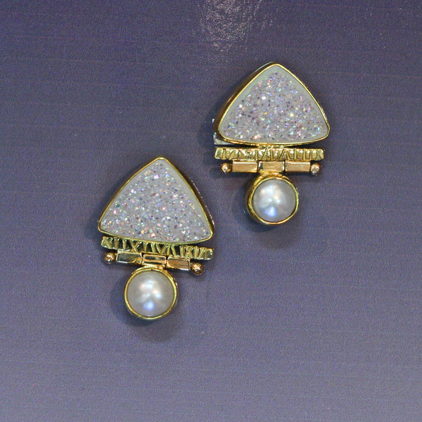 White Silicone Drusy Hinged Earring