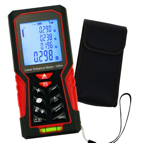 KIB-104 Kibeland Handheld Laser Distance Meter 100m(328ft) Portable Range Finder Area&Volume Measuring Tools Tester with Backlight and Spirit Level, ±1mm accuracy