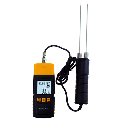 PD_34 Kibeland Instrument Wood Moisture Meter, LCD Display, Built-in Thermometer with Testing Probe, Measuring Range 2~70%, 4 Tree Species