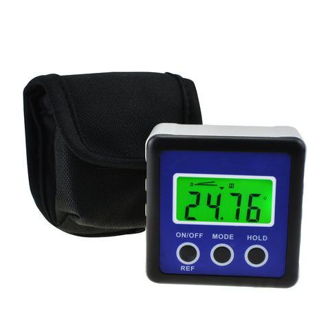 KIB-122 Kibeland Digital Protractor Blue Angle Gauge Inclinometer Large LCD Display Angle Finder Bevel Box with Magnet Base and Relative Measurement