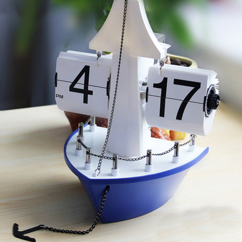 ELE_174 Retro Auto Flip Clock, Sailing Boat Model Desk Decorative Clock (Black / Blue) - Internal Gear Operated