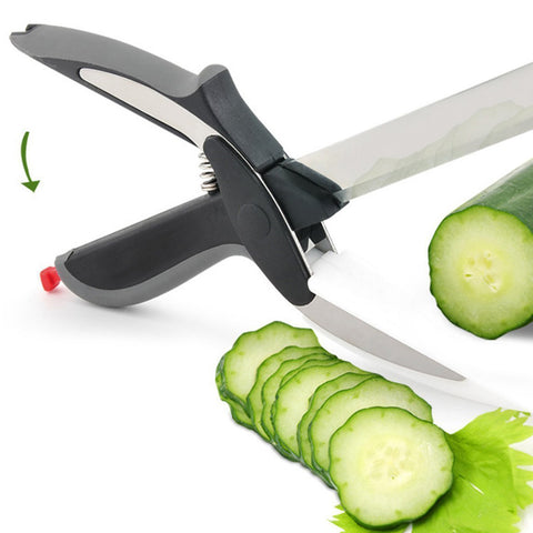KIT_231 Clever Cutter 2-in-1 Food Chopper Knife & Cutting Broad Kitchen Tool
