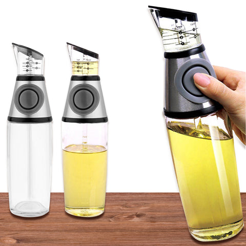 KIT_233 Olive Oil and Vinegar Dispenser 17 Ounce Glass Pump and Measure Oil Bottle with No-Drip Spout