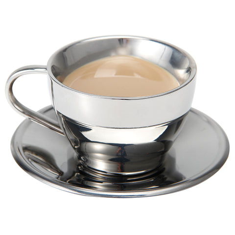 KIT_310 Stainless Steel Heart-Shaped Coffee Cup with Saucer, Great Idea for Coffee and Tea Lovers
