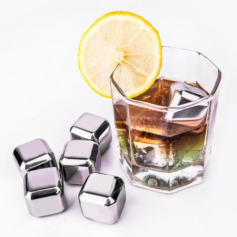MIS_18 Stainless Steel Whiskey Stones Set of 6 or 8 with Plastic Storage Box Reusable Ice Cubes