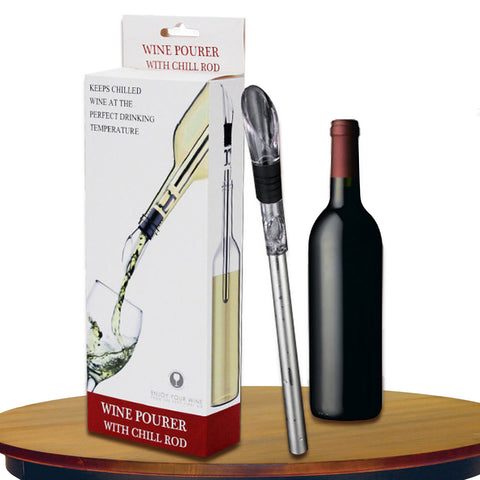 MIS_21 Wine Bottle Cooler Stick - 3-in-1 Stainless Steel Wine Chiller Freezer with Aerator and Pourer Decanter