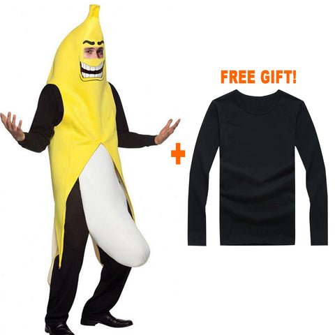 HOL_282 Kibeland Banana Adult Costume Banana Suit FREE Black T-Shirt