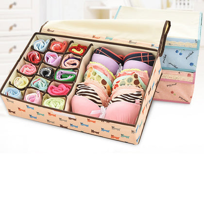 MIS_33 2 in 1 Foldable Drawer Divider Underwear Socks Ties Bras Organizer Storage Box with Cover Closet Divider Closet Systems (9 Cells)