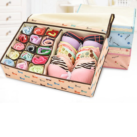 MIS_33 2 In 1 Foldable Drawer Divider Underwear Socks Ties Bras Organizer  Storage Box With Cover
