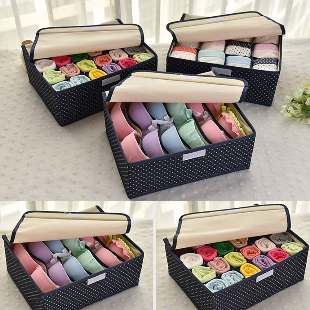 ... MIS_34 Collapsible Underwear Drawers Sock Storage Boxes Bra Organizers  Set Of 3 Drawer Dividers Closet Divider ...