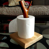 MIS_75 Nature Wooden Toilet Paper Holder Tissue Stand Home Decoration