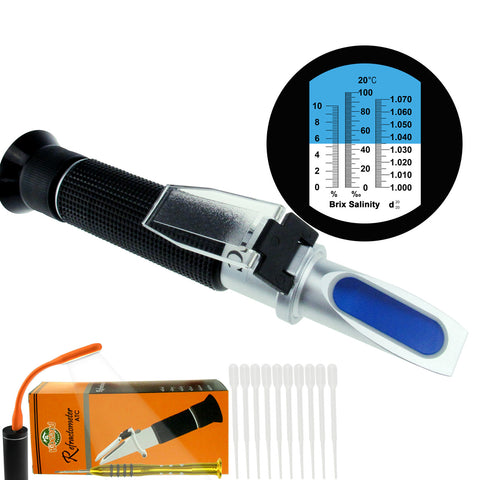 PD_30 Kibeland Brix and Salinity Refractometer with ATC, 3 Scale, Salinity 0~10%, Brix 0~10%, Refractive Index 1.000-1.070, with EXTRA Mini USB Light