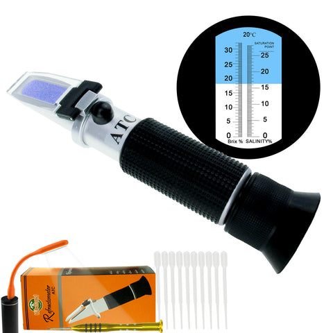 PD_23 Kibeland Handheld Brix and Salinity Refractometer with ATC, Dual Scale Brix 0~32% Salinity 0~28%, with EXTRA Mini USB Light