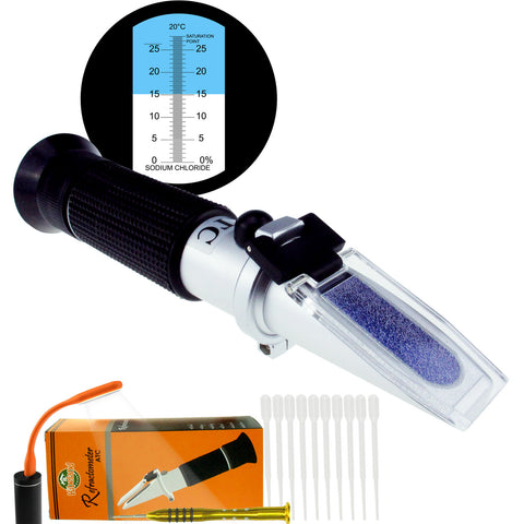 PD_24 Kibeland Handheld Salinity Refractometer with ATC, Scale 0~28%, Sodium Chloride, with EXTRA Mini USB Light, Salty Food Measurement