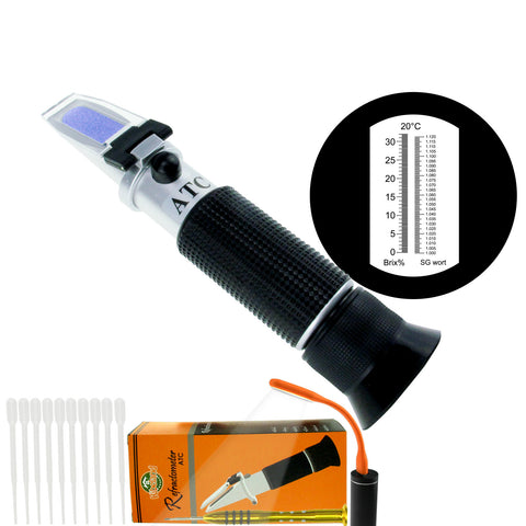 PD_27 Kibeland Beer Wort and Wine Refractometer, Brix/Specific Gravity Refractometer, Dual Scale, Brix 0-32%, SG Wort 1.000~1.120, with EXTRA Mini USB Light